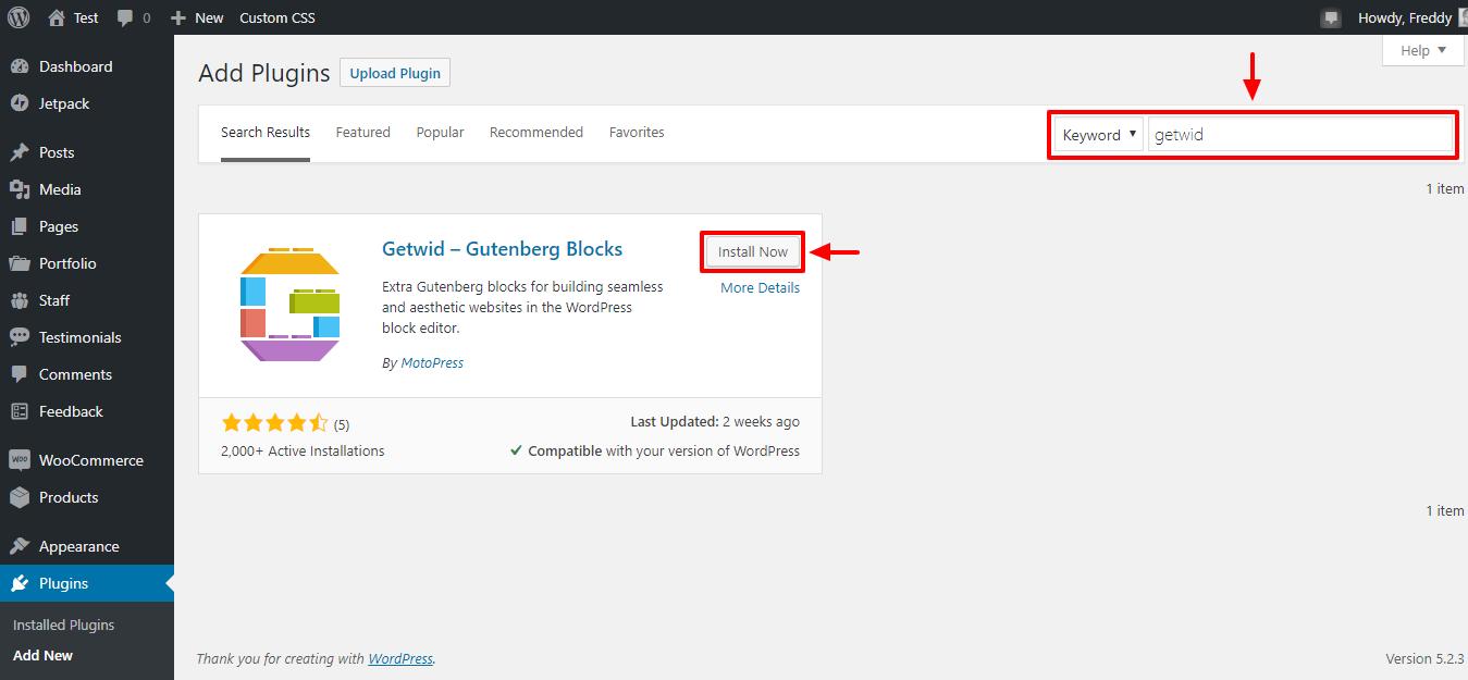 Làm thế nào để cài đặt plugin khối getwid gutenberg cho wordpress