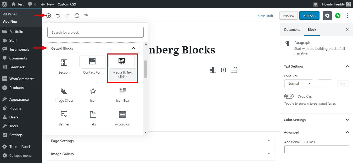 media kaydırıcıyı bloku və getwid mətni