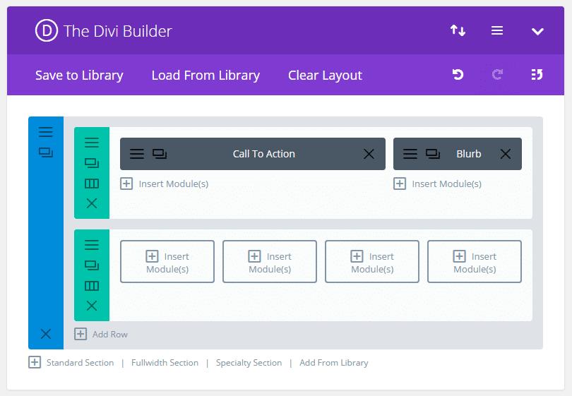 Vista de diseño de página a través de la interfaz de fondo
