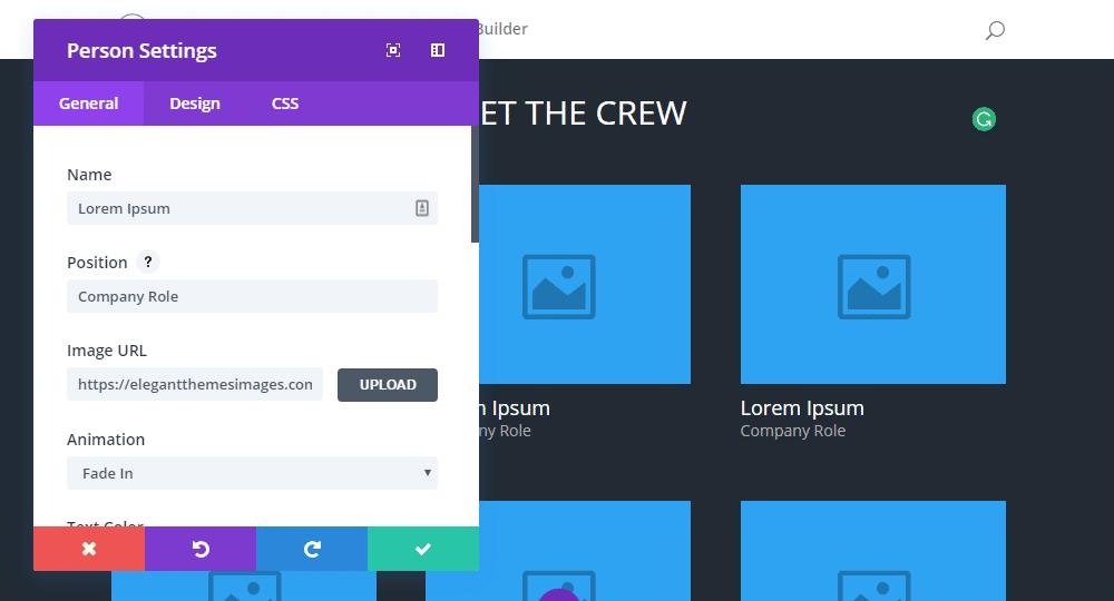Fenêtre contextuelle pour le créateur de page