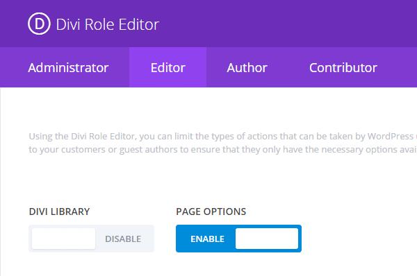 Divi 2.5 Update Role Editor