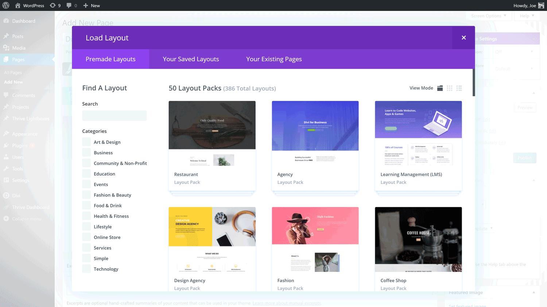 Exemple de conception Web Divi