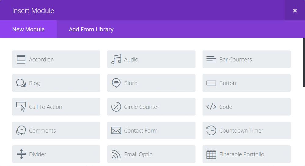 Modules de contenu Divi Builder