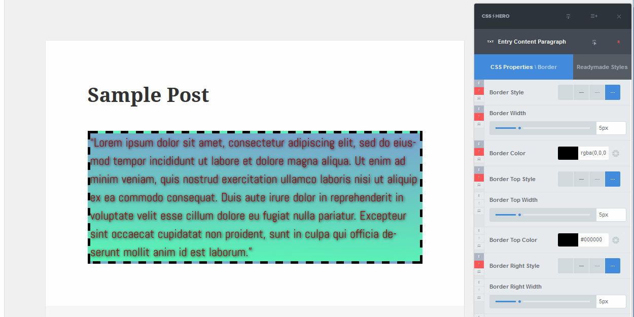 Plne štýl hraníc CSS