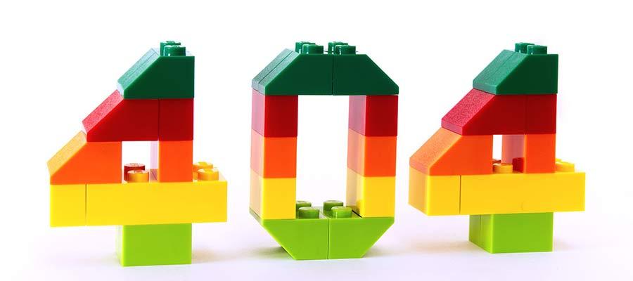 Sayı 404, oyuncak bloklardan yapılmış.
