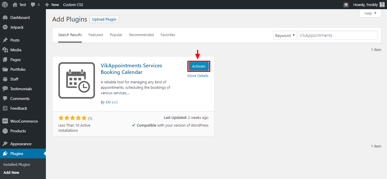 activar el plugin de wordpress vikappointments