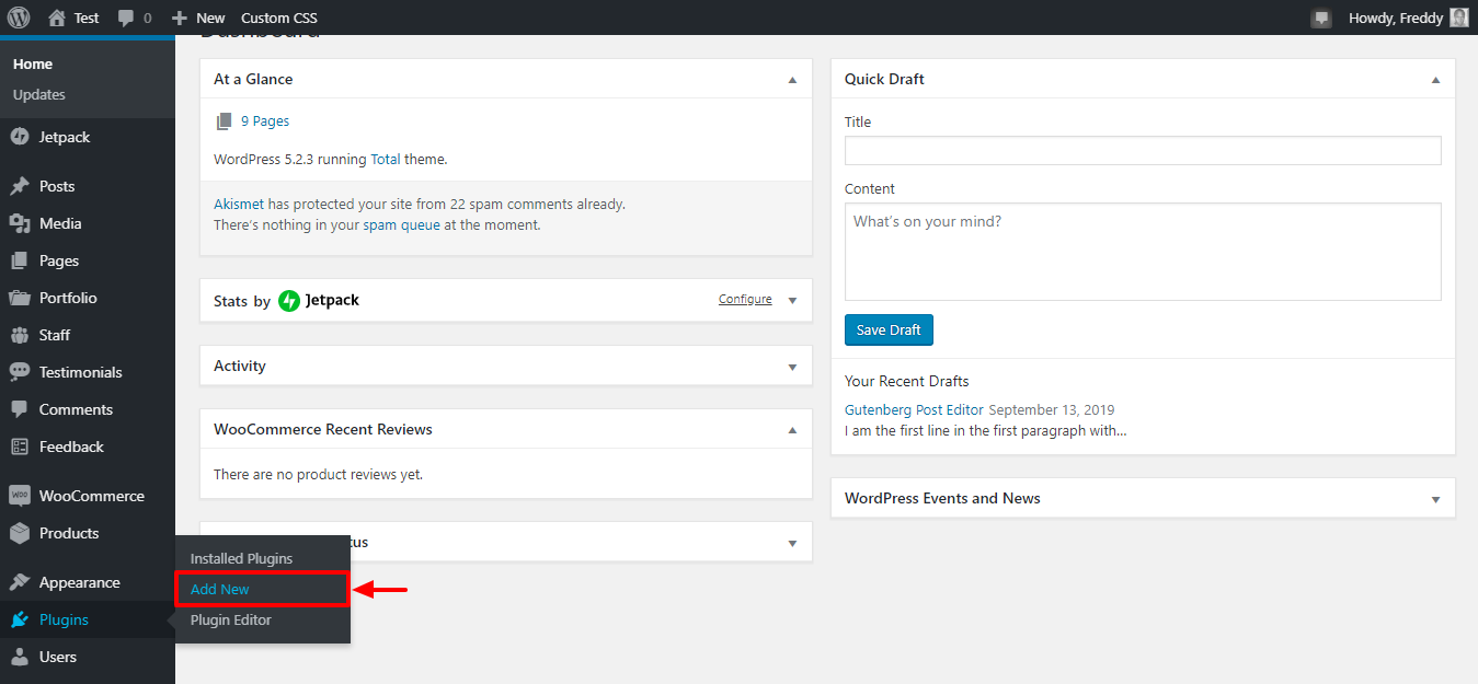 cómo instalar un nuevo complemento de wordpress