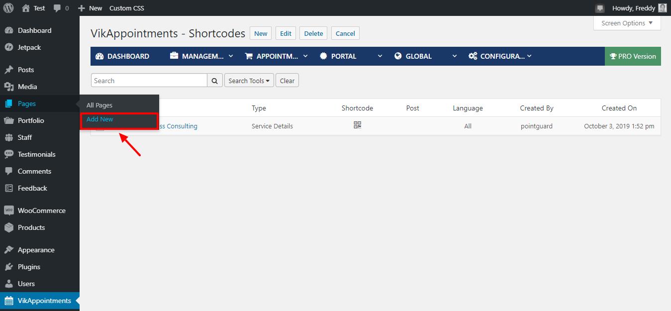 Agregar nueva página en WordPress