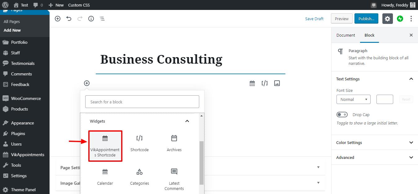 crear una nueva página de servicio a través de códigos cortos