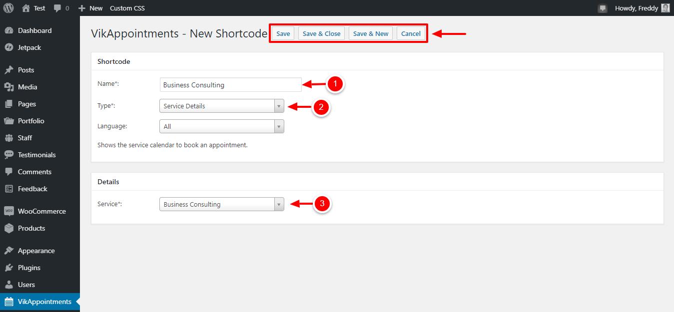 crear nuevo shortcode