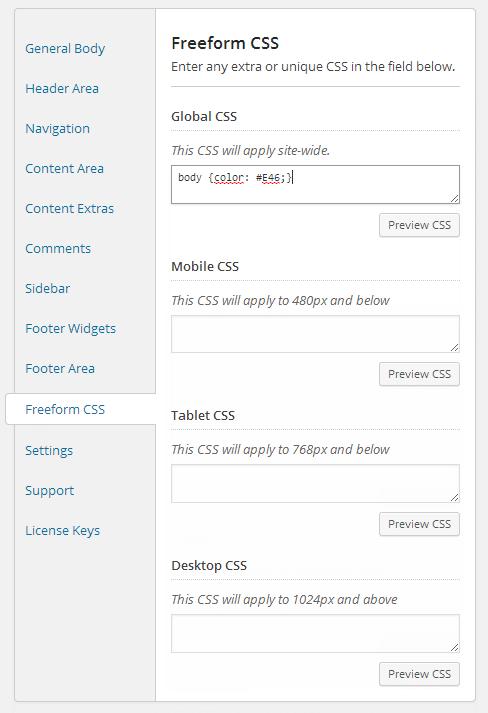 Genesis Palette Pro CSS de forma libre