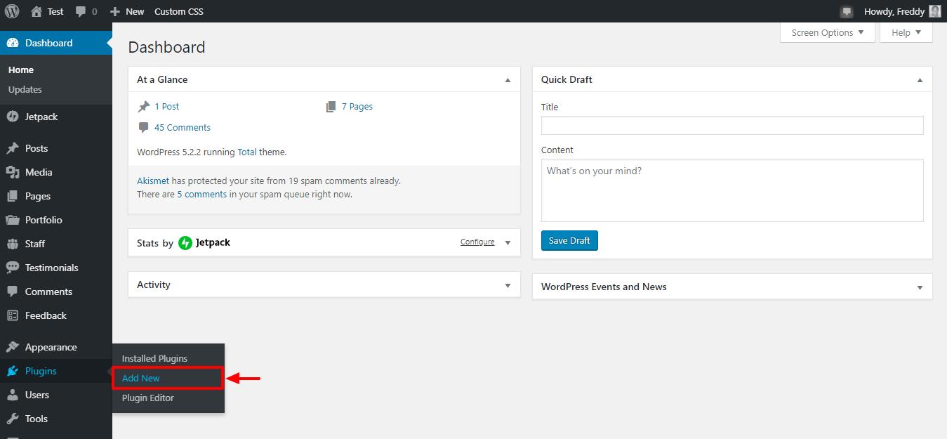 Instalar un nuevo complemento de WordPress