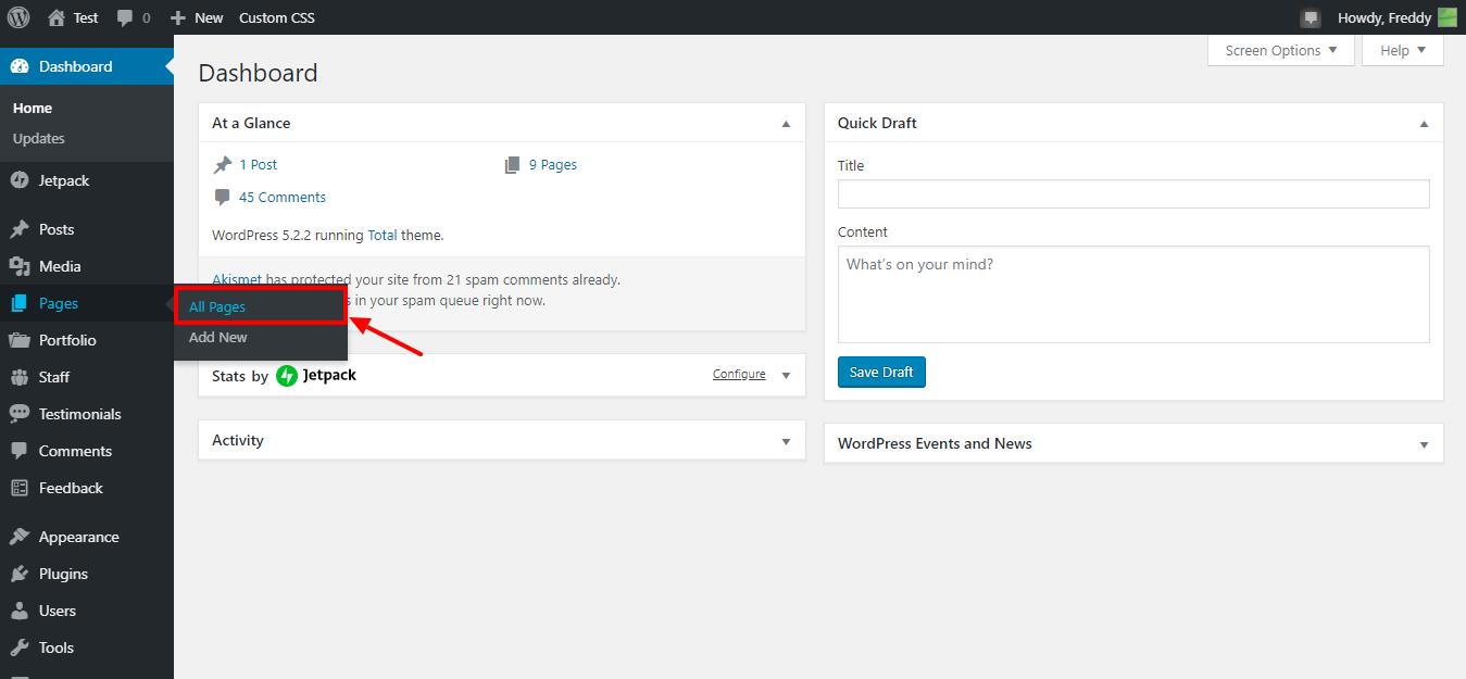 Acceda a todas las páginas en el área de administración de WordPress