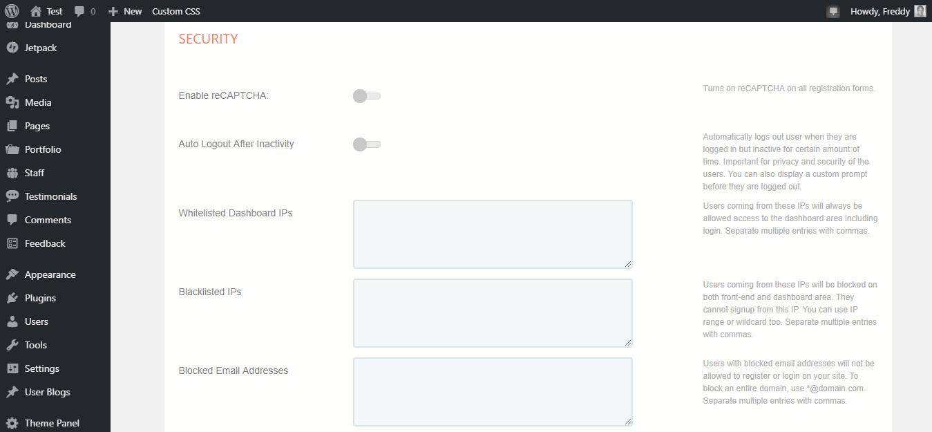 La página de perfil de configuración de seguridad de cuadrícula