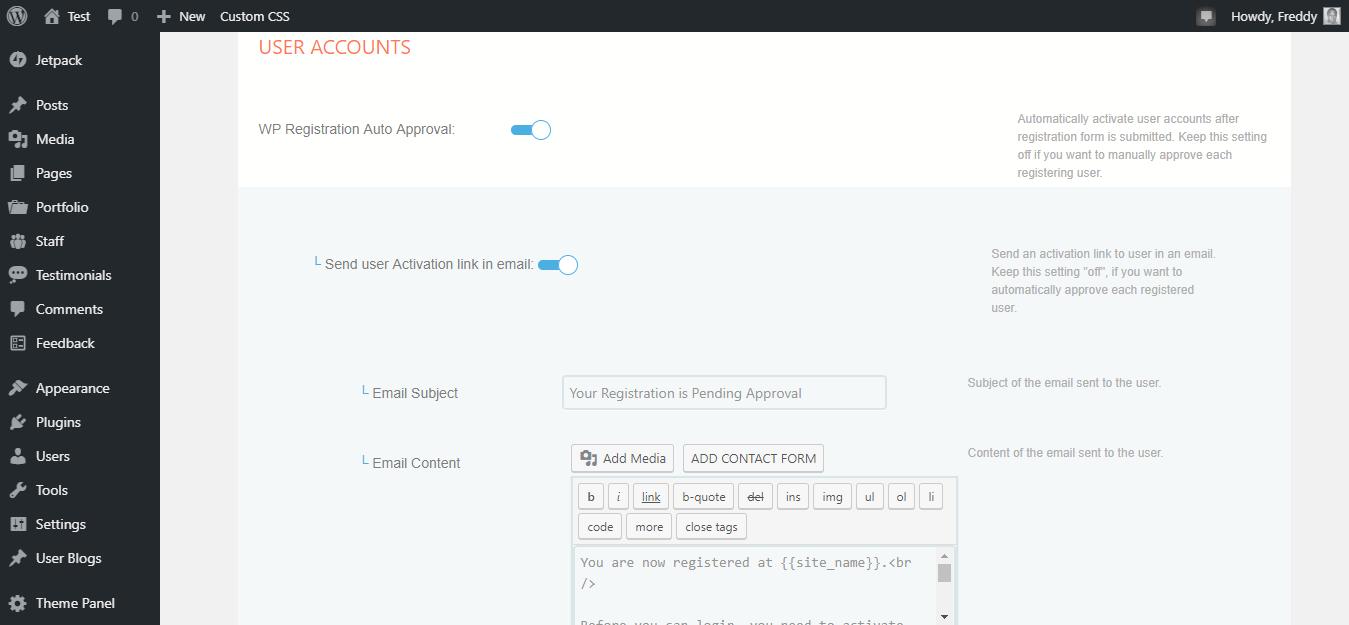 Página de configuración para la cuenta de usuario de Profilegrid