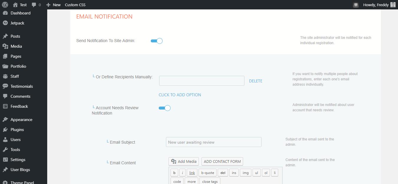 Página de notificación de correo electrónico de cuadrícula de perfil