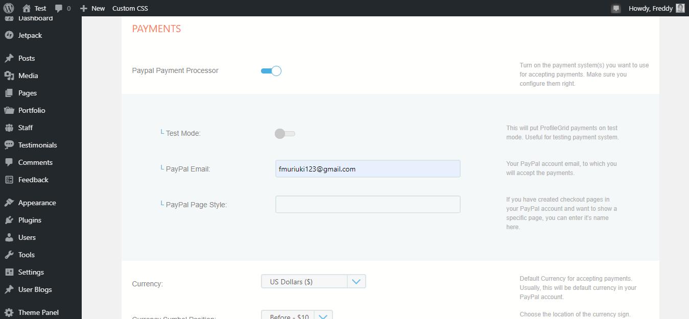 Integración de Profilegrid Payment Gateway