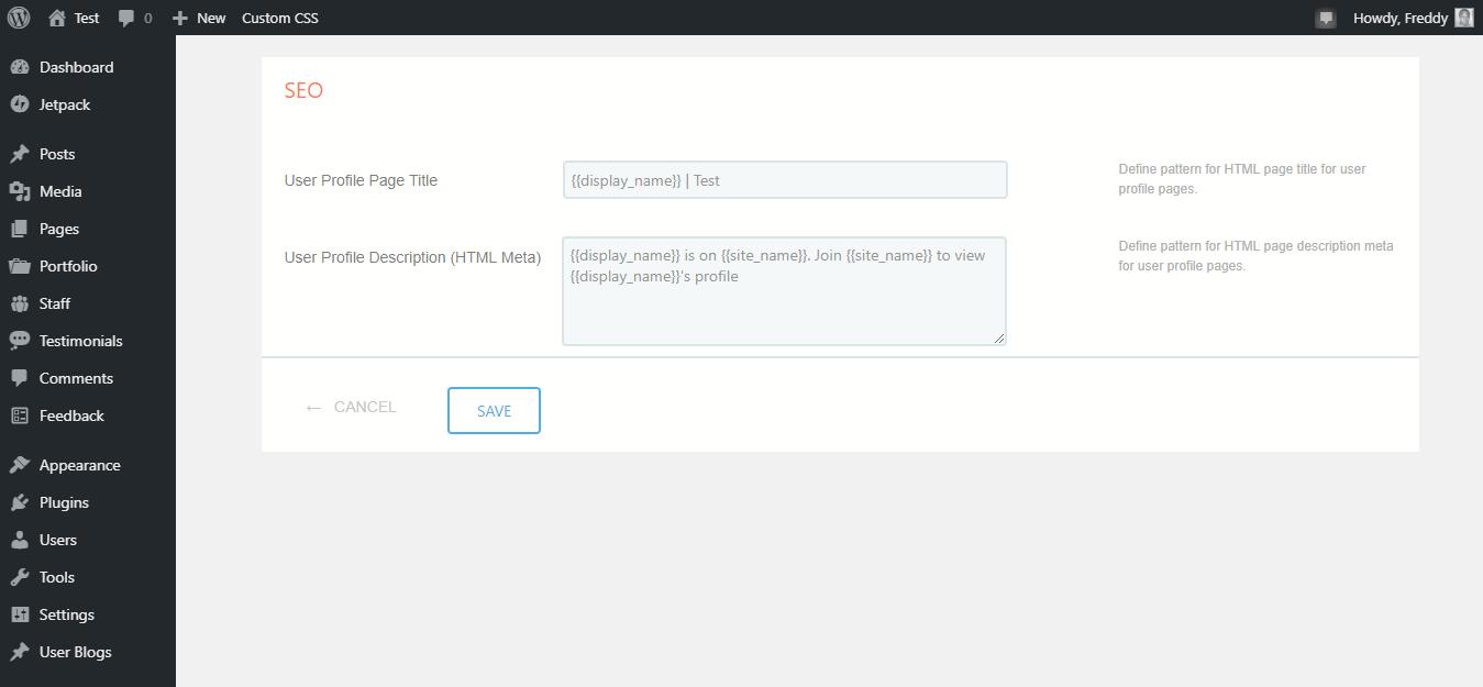 Configuración de SEO de red de perfil