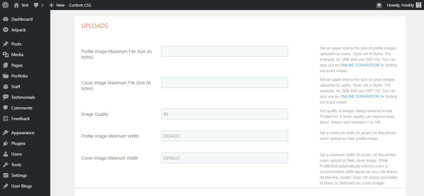 Configuración de carga de red de perfil