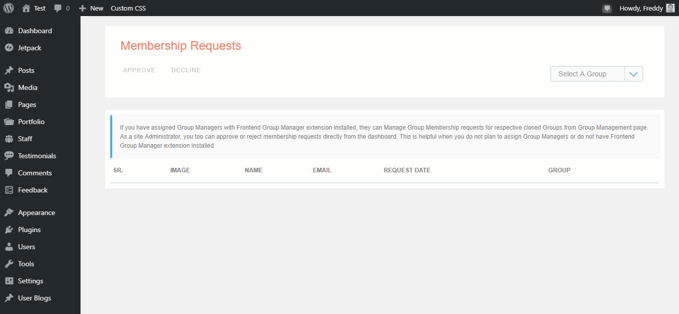 aplicaciones de membresía de cuadrícula de perfil