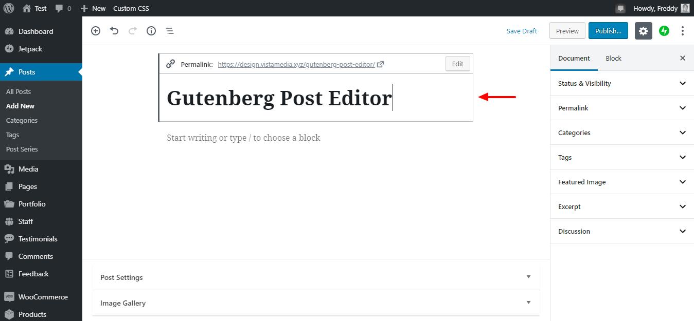 Gutenberg üçün yeni bir mövzu əlavə edin