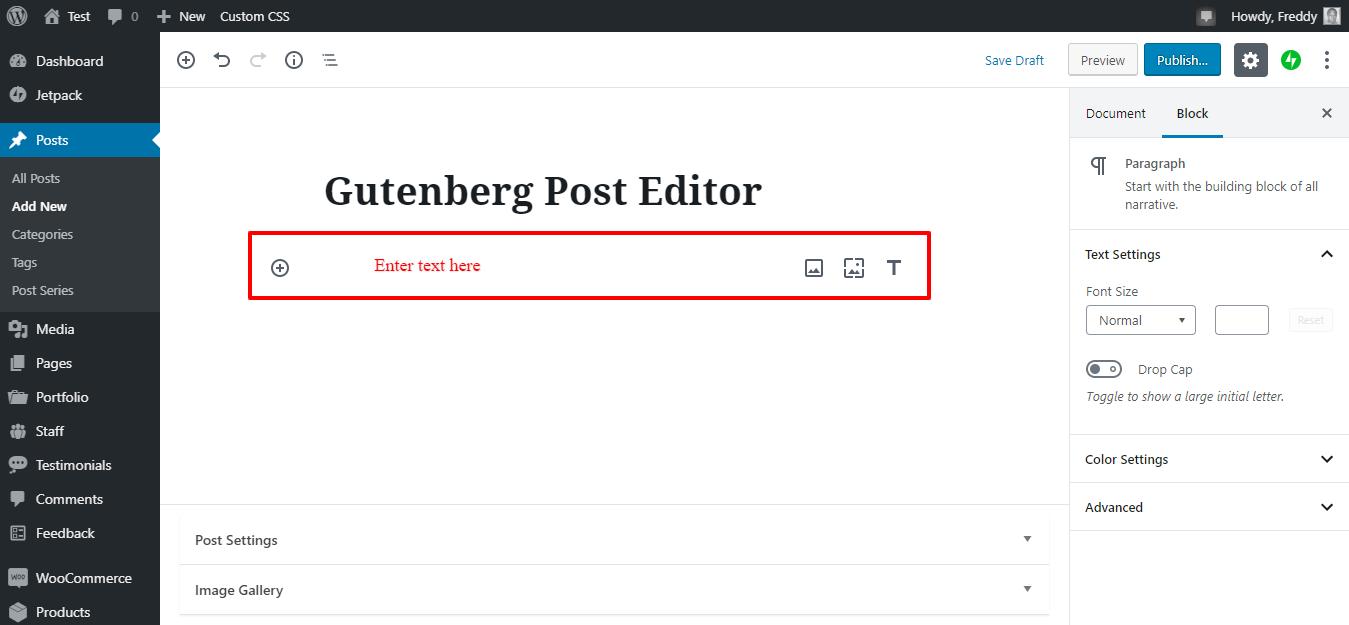 Gutenberg-də yeni satış bloku