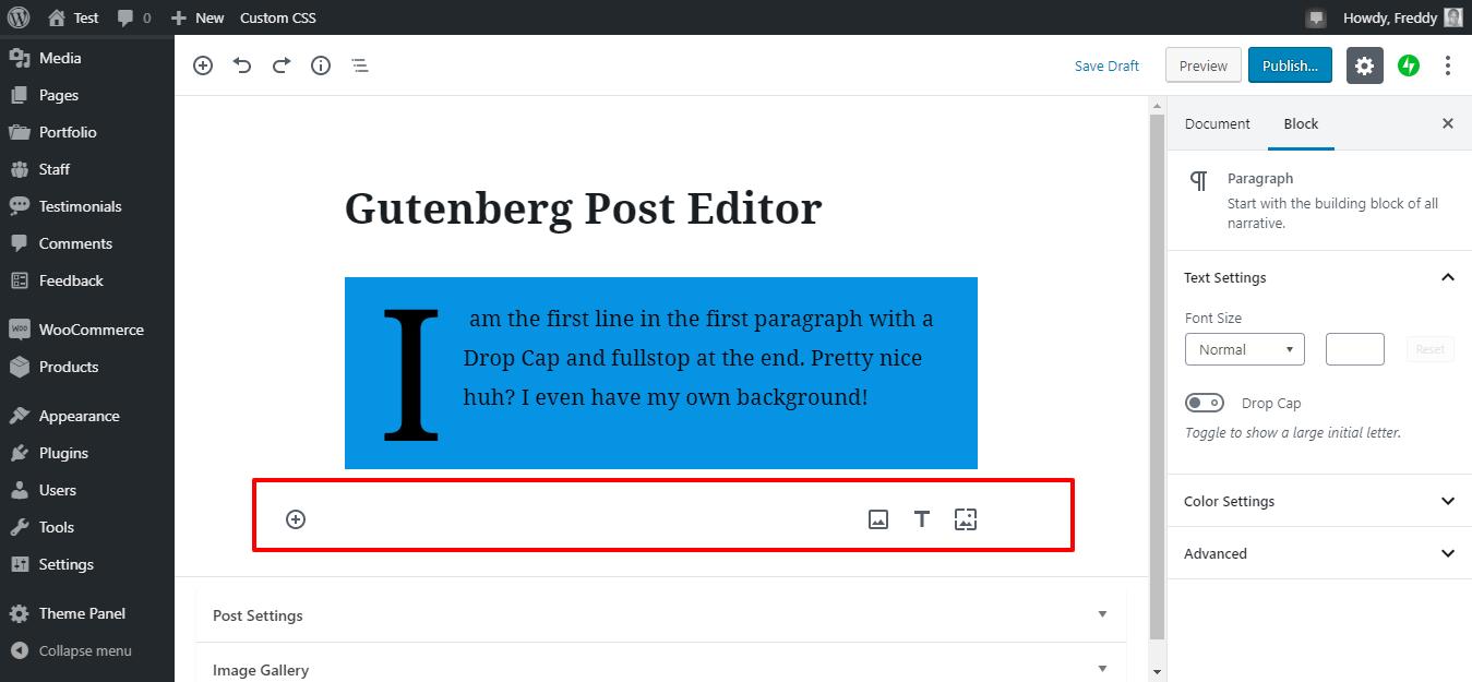 Gutenberg-də yeni bir şəkil əlavə edin