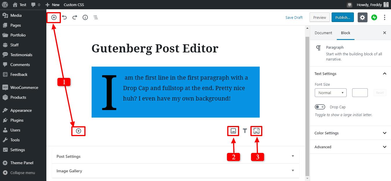 Gutenberg redaktorunda yeni bir şəkil əlavə edin