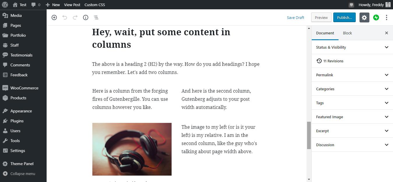WordPress redaktorundakı Gutenberg sütunları