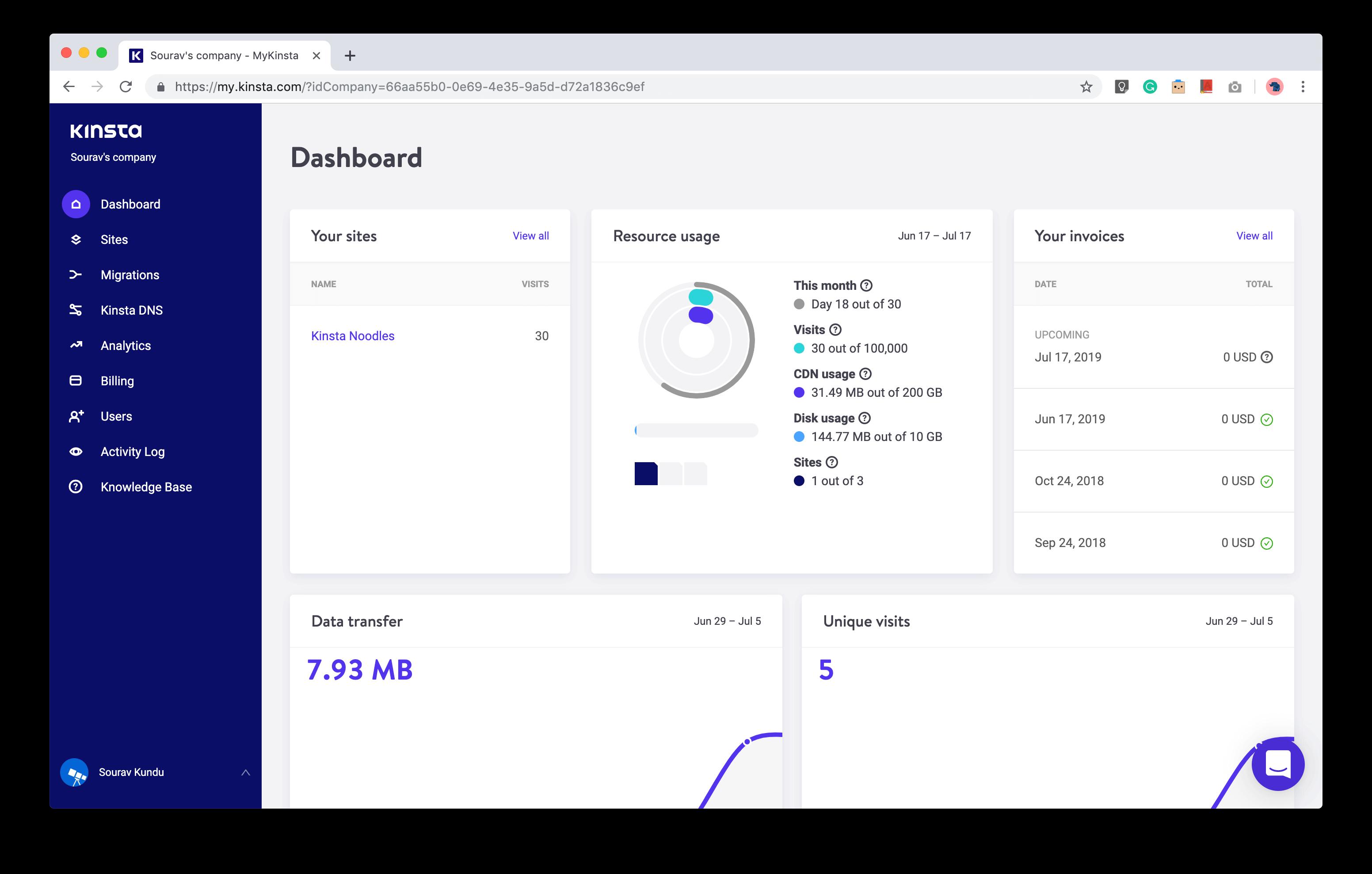 captura de pantalla de MyKinsta Dashboard