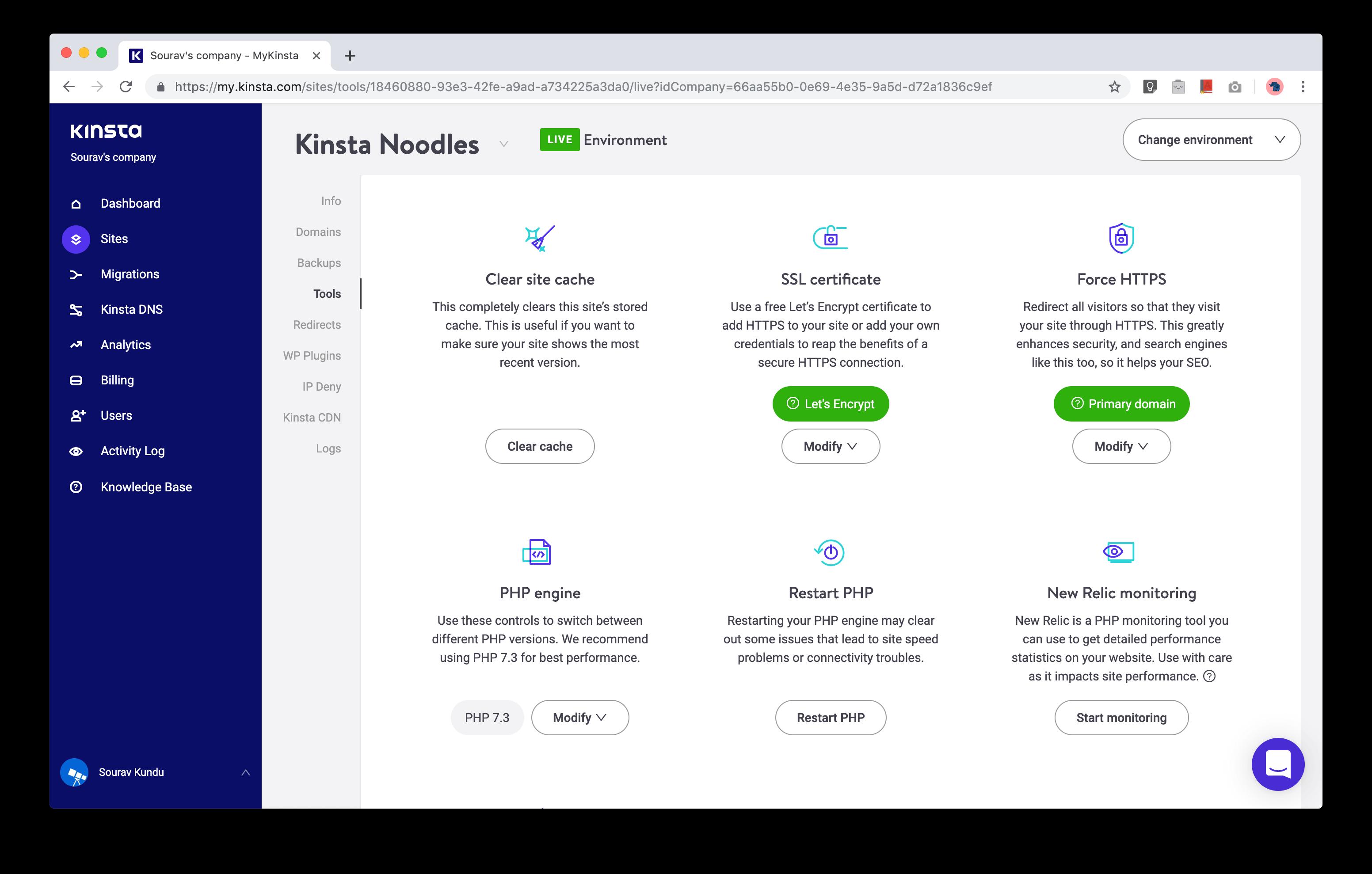 captura de pantalla de las herramientas de administración de MyKinsta WordPress