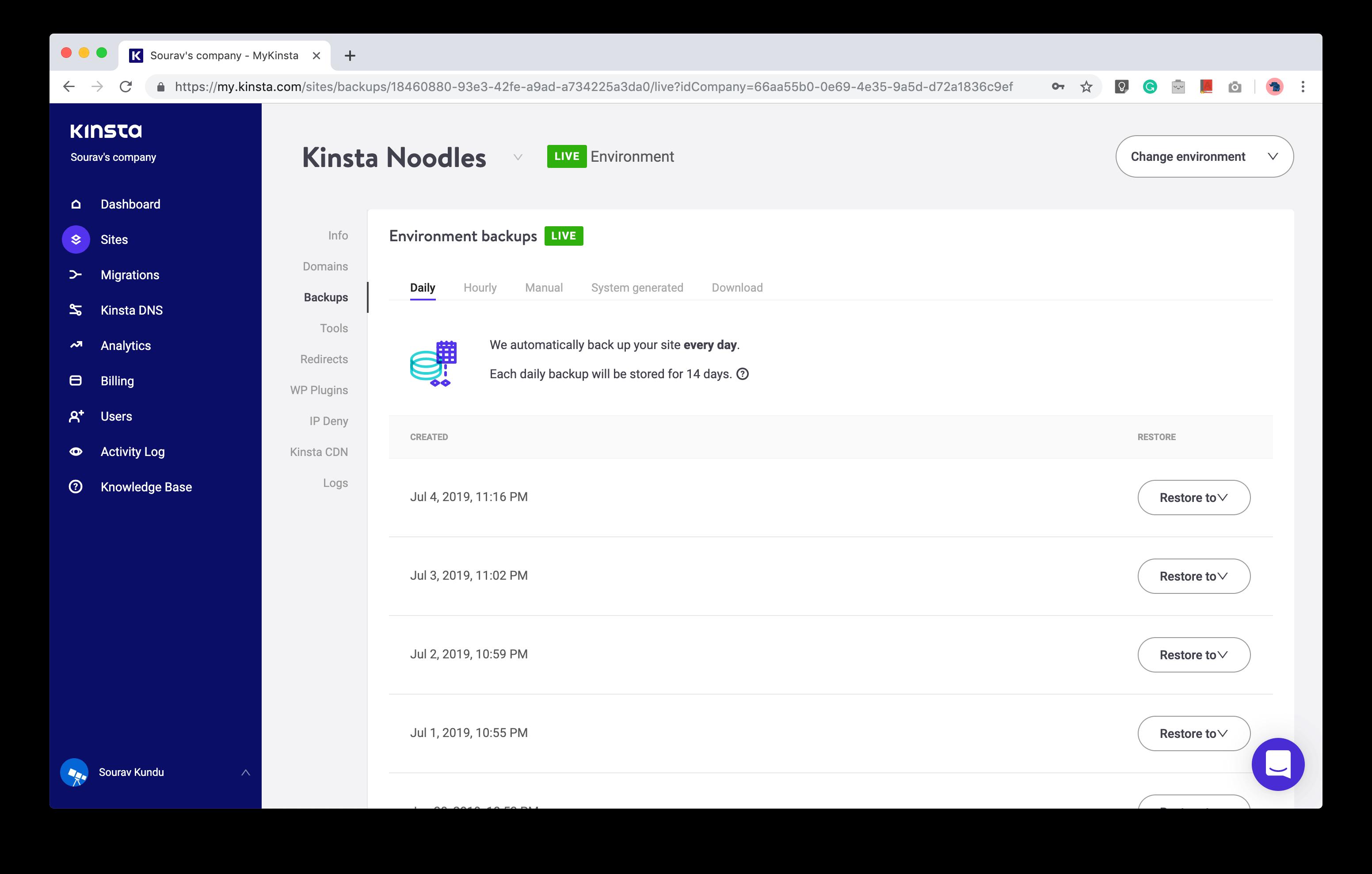 captura de pantalla de la gestión de copias de seguridad de WordPress en Kinsta
