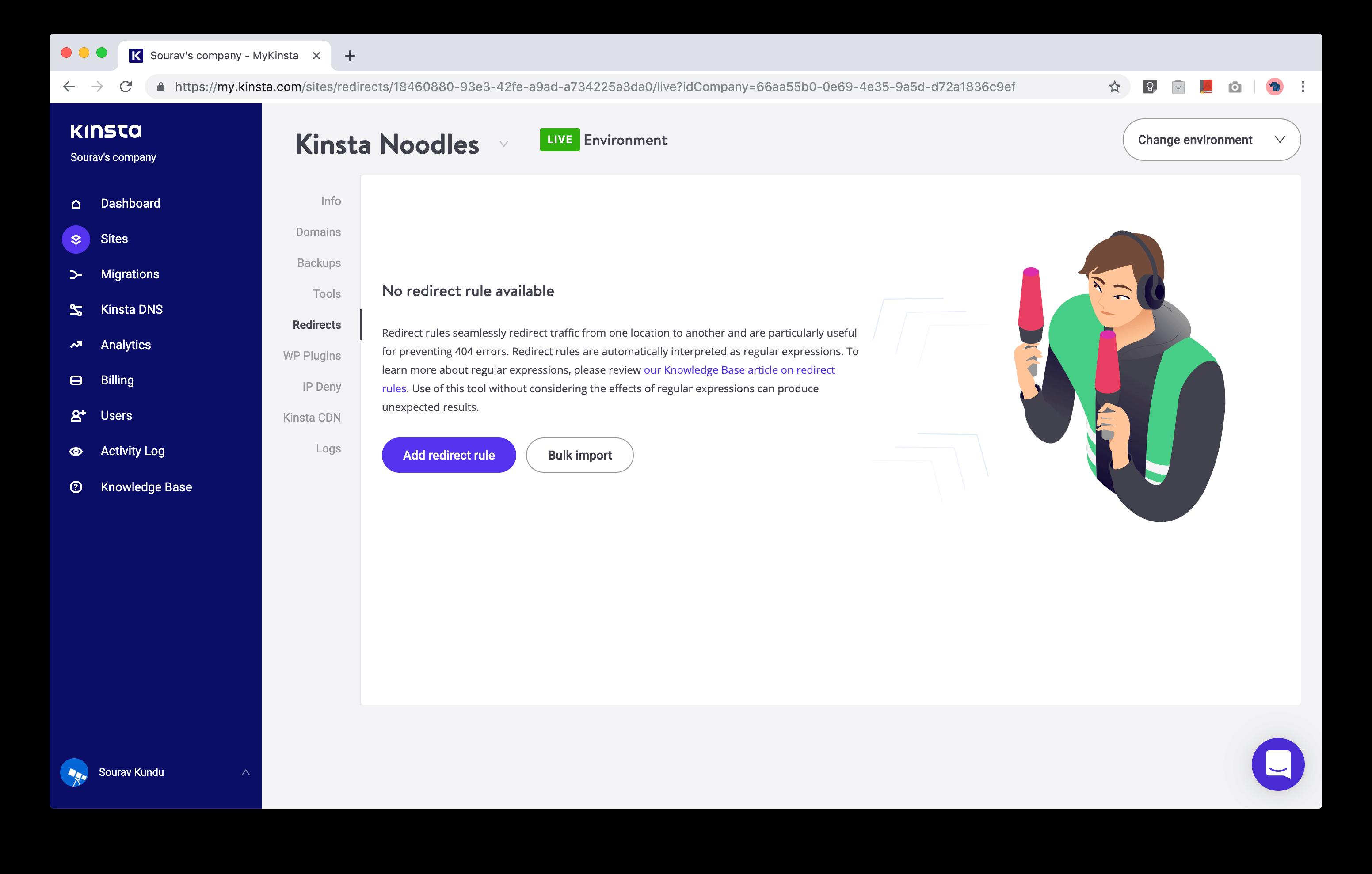 captura de pantalla del panel de control de administración de redirección de URL de Kinsta