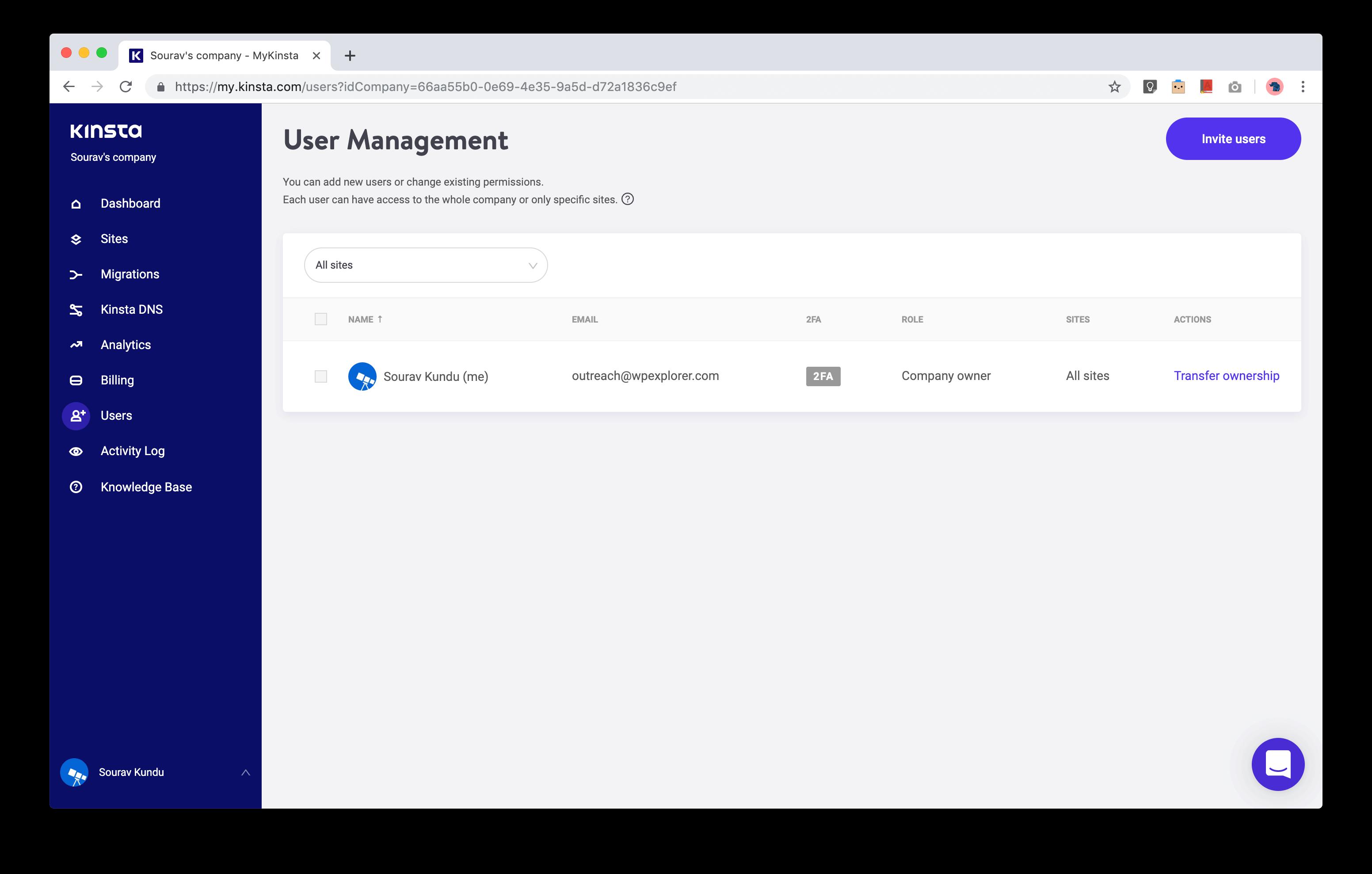 captura de pantalla de MyKinsta User Management