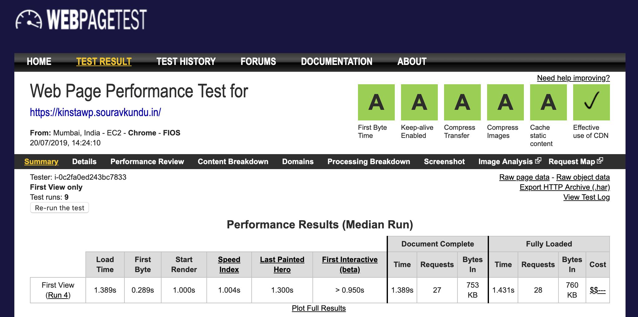 captura de pantalla para pruebas de rendimiento de Kinsta WebPageTest