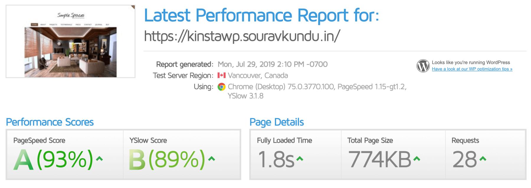 captura de pantalla de los puntos de referencia de rendimiento de Kinsta - Gtmetrix