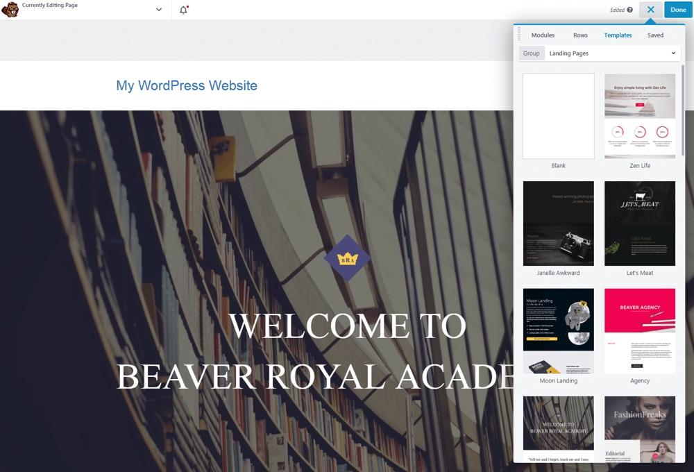 Beaver Builder şablonları
