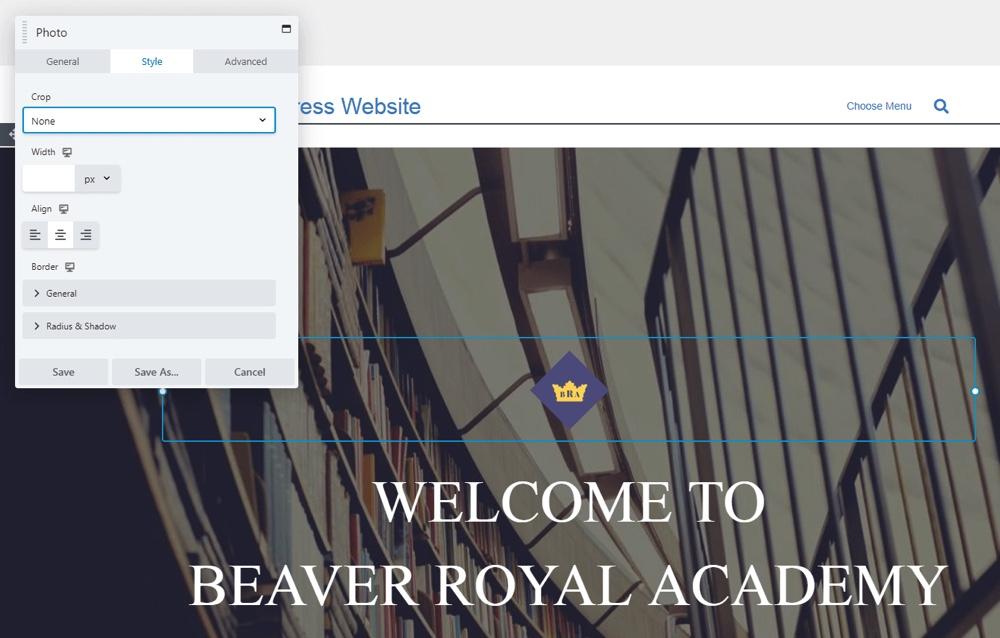 Configuración de estilo de Beaver Builder