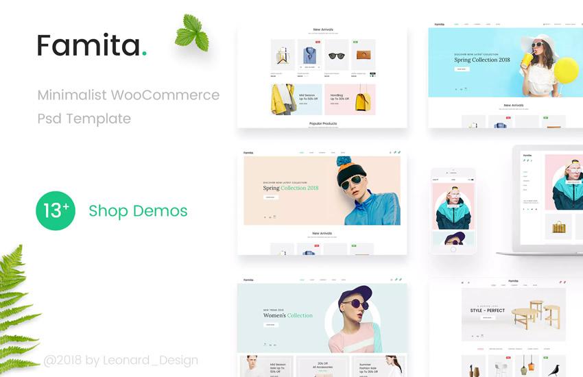 Famita Minimalist WooCommerc Webdizajn Adobe Design Photoshop Template Bezplatný formát PSD