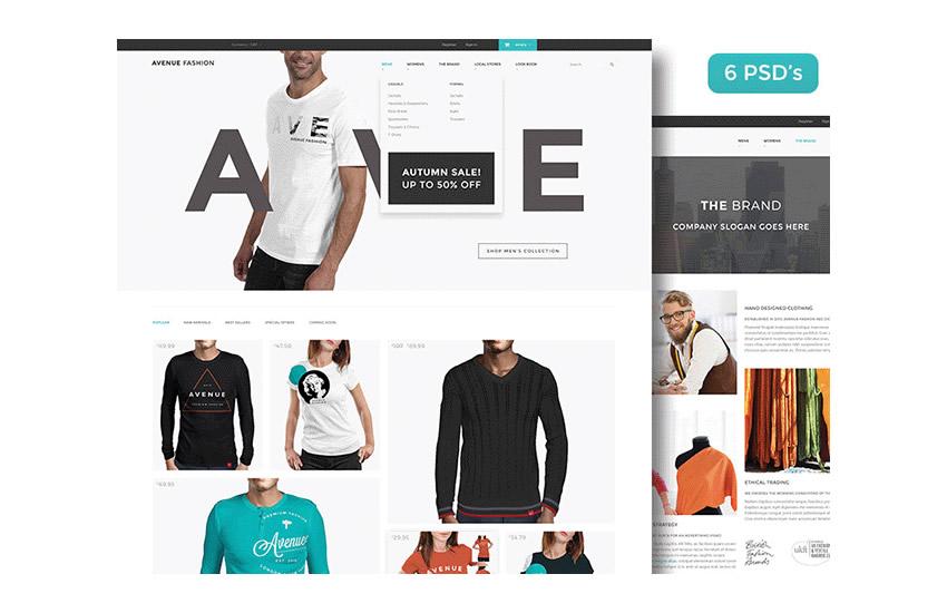 Šablóna rozloženia webového dizajnu Avenue Fashion elektronického obchodu Adobe Photoshop Free PSD Format