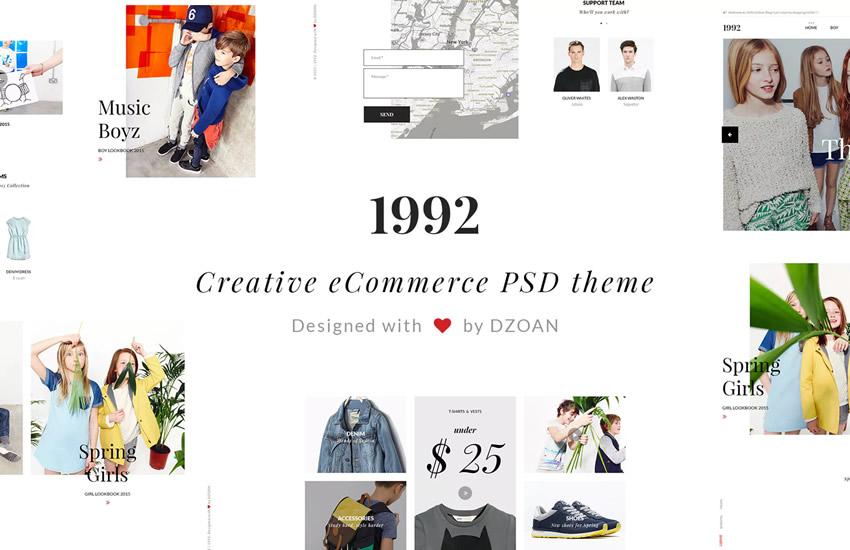 1992 Kreatívny webový dizajn pre elektronický obchod Formát Adobe Photoshop šablóny PSD