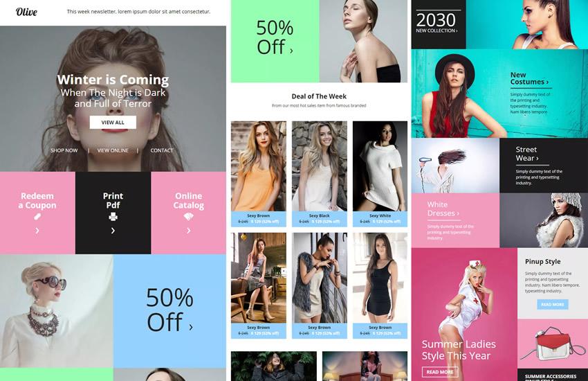 Olive fashion E-commerce Newsletter E-mail Webový dizajn Adobe Photoshop design template PSD format