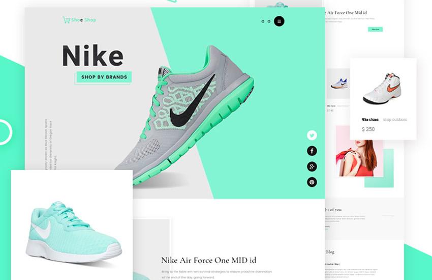 Zadarmo rozloženie návrhu elektronického obchodu s tenisom Šablóna Adobe Photoshop Bezplatný formát PSD