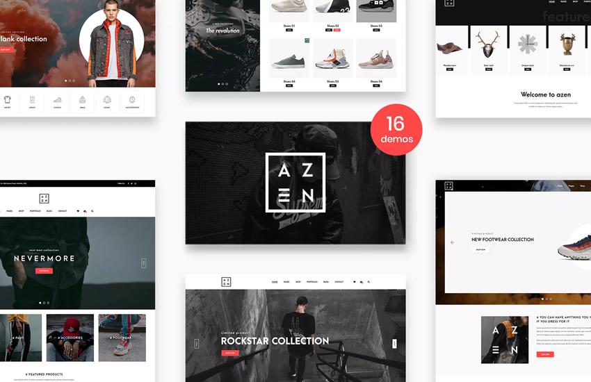 Azen Clean Minimálny elektronický obchod Web Design Šablóna rozloženia Adobe Photoshop PSD Format