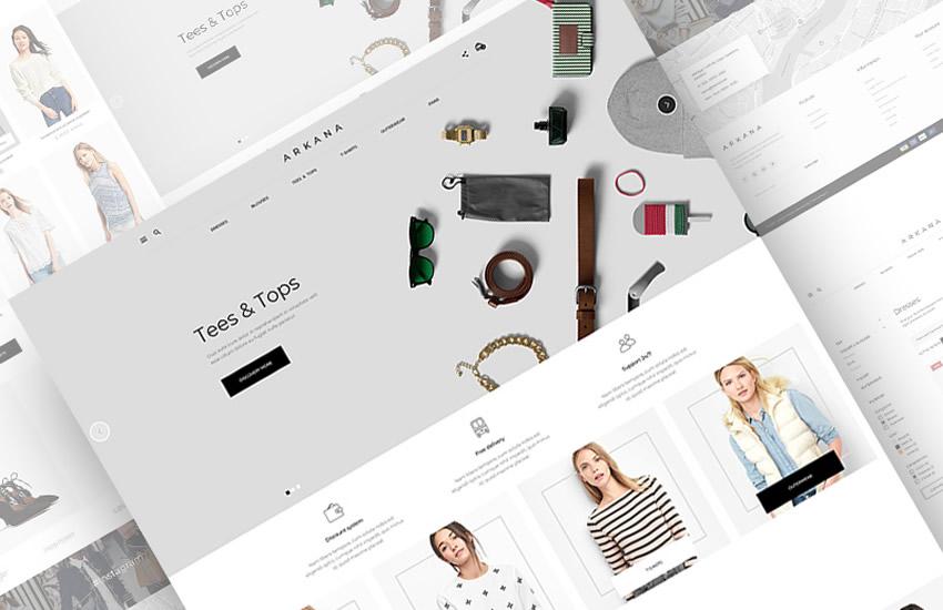 Dizajnová webová stránka elektronického obchodu Arkana v dizajne Adobe Photoshop Šablóna zadarmo vo formáte PSD