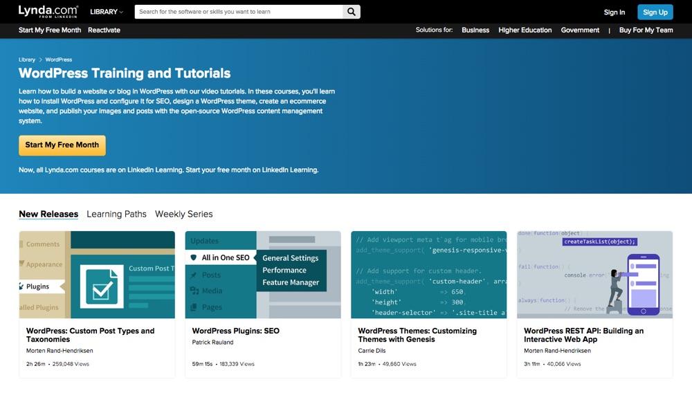Różne kursy WordPress na Lynda.com
