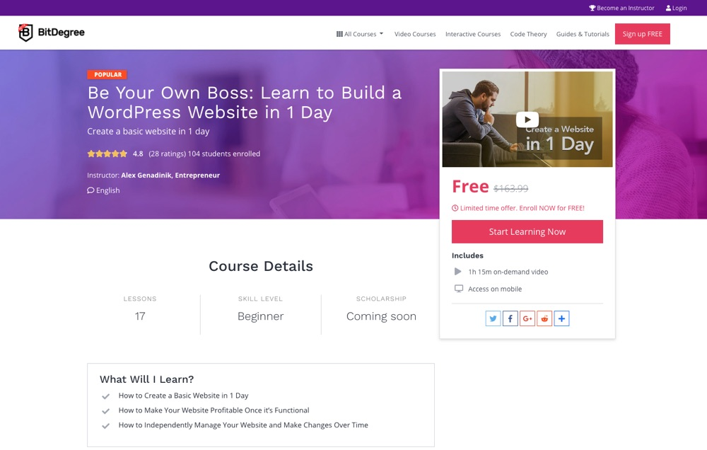 Bądź swoim własnym szefem WordPress przez BitDegree