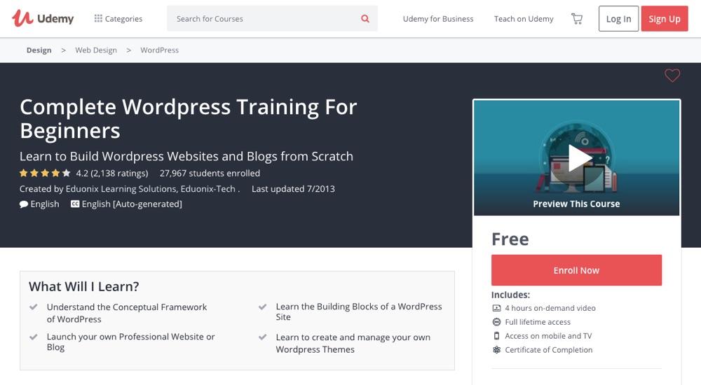 Ukończ szkolenie WordPress dla początkujących przez Udemy