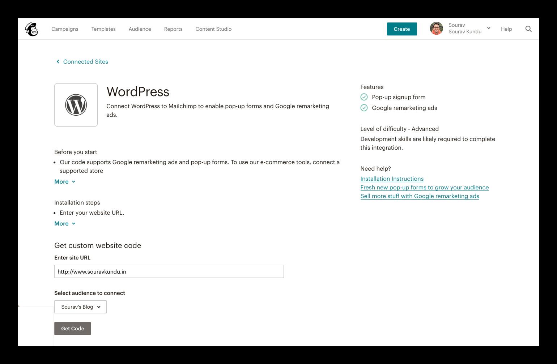 WordPress konfiqurasiya seçimlərinə Mailchimp