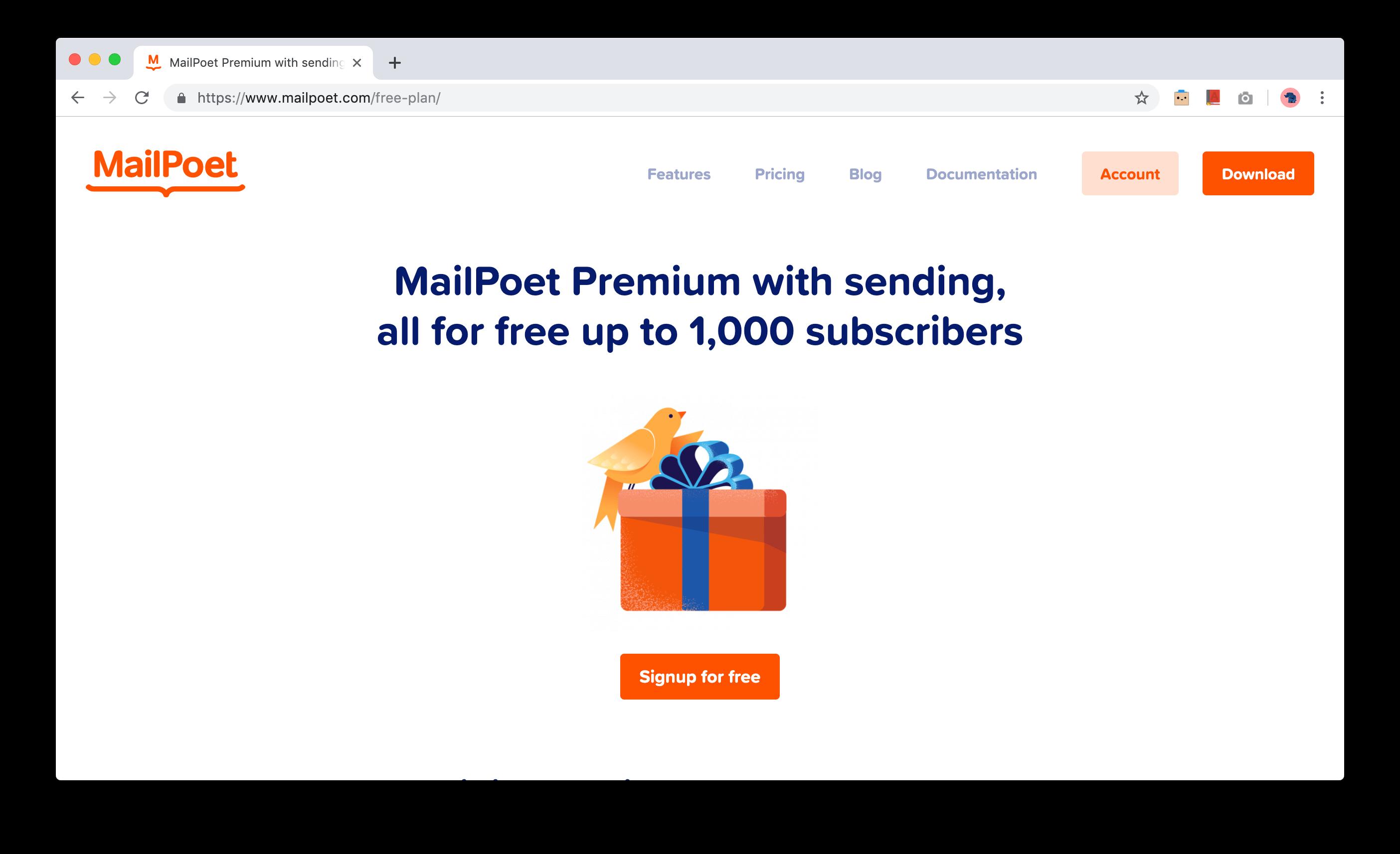 1000-ə qədər abunəçi üçün pulsuz MailPoet Forever planı